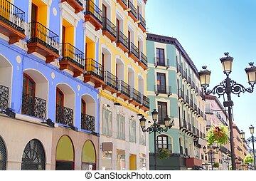 Zaragoza city Spain Alfonso I street coloful building...