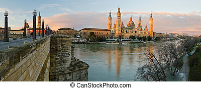 Zaragoza Panorama and Ebro river in early morning lights