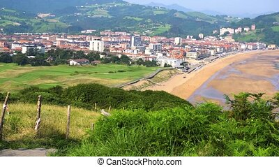 Zarauz, Pais Vasco, Spain - panorama of Zarauz and...