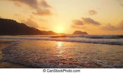 Zarauz, Pais Vasco, Spain - SCenic sunset over Zarauz city...
