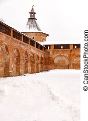 Zaraysk Kremlin walls and towers at winter day. Russia, Moscow region