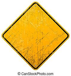 zardzewiały, żółty znak