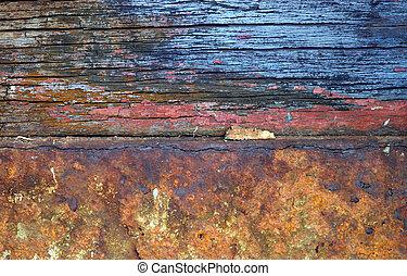 zardzewiały, drewno, żelazo