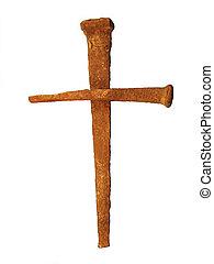 zardzewiały, paznokieć, krzyż