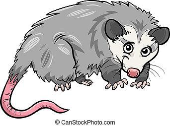 zarigüeya, caricatura, ilustración, animal