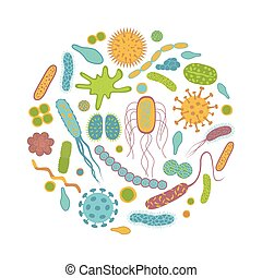 zarodki, odizolowany, bacteria, biały, ikony, tło.