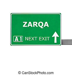 zarqa, branca, isolado, sinal estrada