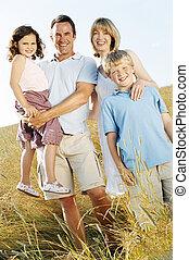 zastaven úsměv, rodina, venku