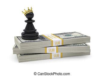 zastaw, złoty, dolary, korona, stać, opakujcie