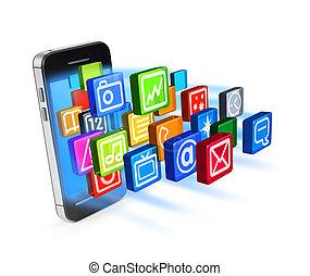 zastosowania, ikony, smartphone, pękać