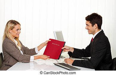 zastosowanie, i, performance., wywiad, z, dzierżawiąc, manager.