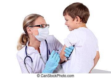 zastrzyk, dziecko, szczepionka, doktor