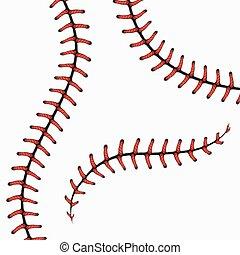 zaszywa, set., odizolowany, wektor, baseball, koronki, softball, white.