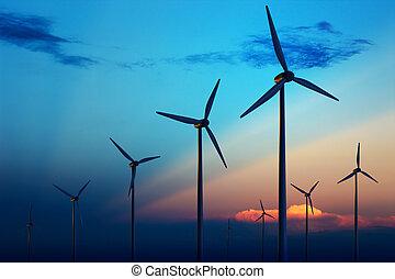 zatáčka turbína, farma, v, západ slunce
