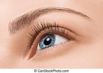 zatkać się, błękitne oko, z, makijaż
