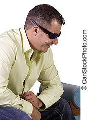 zatkać się, od, samiec, wzór, z, sunglasses