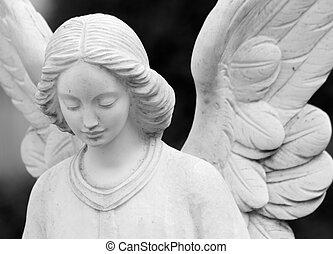 zatkać się, od, skrzydlaty, statua anioła