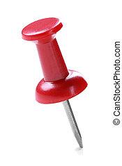 zatkać się, pushpin, czerwony