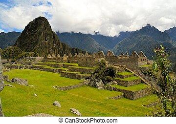 zatkać się, szczegółowy, prospekt, od, machu picchu, stracony, inca, miasto, w, andy, peru