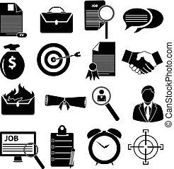 zatrudnienie, ikony, komplet