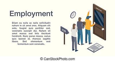 zatrudnienie, isometric, chorągiew, pojęcie, styl
