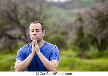 zatrzymanie, modlić się, nature.