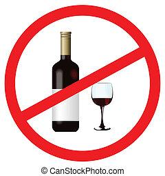 zatrzymywać, alkohol, znak