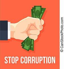 zatrzymywać, korupcja