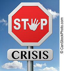 zatrzymywać, kryzys