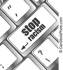 zatrzymywać, rasizm, pojęcie, przez, klawiaturowa klawiatura