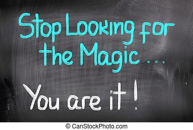 zatrzymywać, szukając, przedimek określony przed rzeczownikami, magia, ty, czas teraźniejszy czasownika be, to, pojęcie
