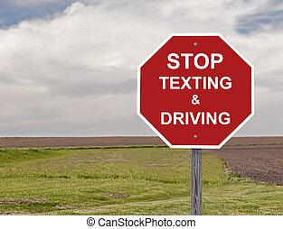 zatrzymywać, texting, napędowy, &