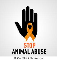 zatrzymywać, zwierzę nadużywają, znak