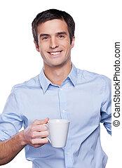 zaufany, businessman., portret, od, przystojny, młody mężczyzna, w, błękitna koszula, aparat fotograficzny przeglądnięcia, i, keeping, herb krzyżował, znowu, reputacja, odizolowany, na białym