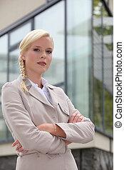zaufany, kobieta interesu, blond, outdoors