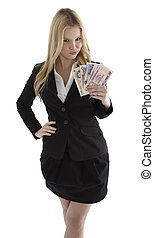 zaufany, kobieta interesu, notatki, młody, waluta, dzierżawa, uśmiechanie się