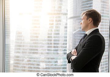 zaufany, planowanie, biznesmen, projektowanie, nowy