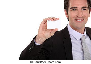 zaufany, przedstawiając, karta, biznesmen