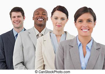 zaufany, reputacja, drużyna, handlowy, uśmiechanie się, razem