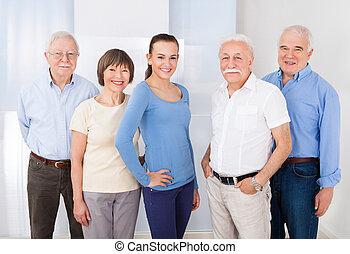 zaufany, senior, caregiver, ludzie