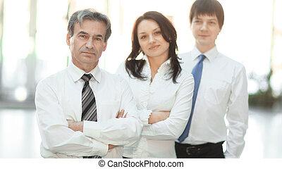 zaufany, tło, handlowe biuro, drużyna