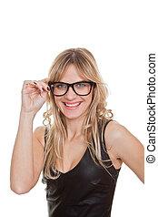 zaufany, uśmiechnięta kobieta, okulary, szczęśliwy
