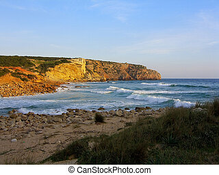 Zavial beach and it's rocky formations, near Sagres, Algarve...
