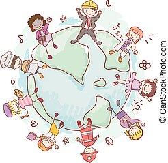 zawód, dzieciaki, stickman, dookoła, świat