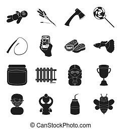 zawód, inny, czarnoskóry, ikona, sieć, pasieka, magia, style., jadło, turystyka, instalacja wodociągowa