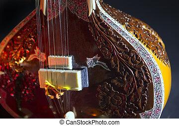 zawiązywać, tradycyjny, instrument, indianin, sitar,...