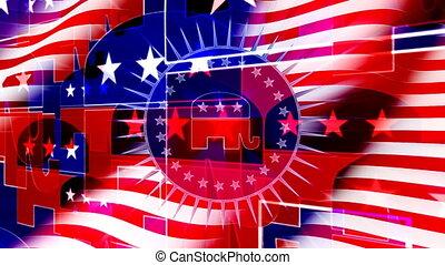 zawiązywanie, bandera, republikanin, tło