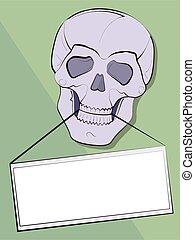 zawiadomienie, w, niejaki, zęby, od, niejaki, czaszka