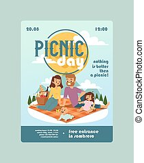 zawiadomienie, wypadek, na wolnym powietrzu, piknik, illustration., rodzinny czas, razem, zaproszenie, wektor, rodzice, działalność, children., spends, dzień, szczęśliwy