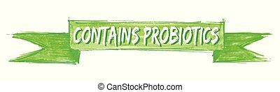 zawiera, probiotics, wstążka